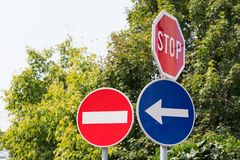 Several traffic signs Royalty Free Stock Image
