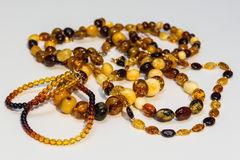 Several types of amber necklace. royalty free stock photos