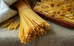 Several types of pasta Royalty Free Stock Photos
