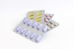 Several types of pills Royalty Free Stock Photo