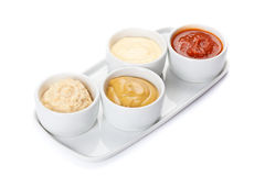 Several types of sauce. On a white background Royalty Free Stock Photography