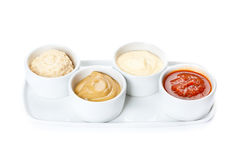 Several types of sauce. On a white background Stock Images