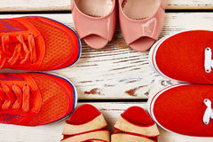 Several types of women`s shoes. Royalty Free Stock Photos