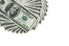 Several 100 US $ money notes spread out in fan shape Royalty Free Stock Image
