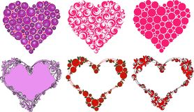 Hearts in different style, vector royalty free stock images