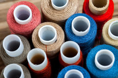 Several varicolored spools of thread Royalty Free Stock Image