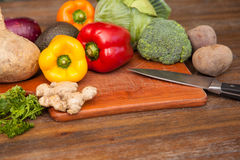 Several vegetables in a chopping board Stock Image