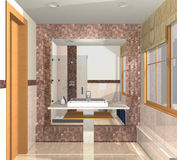 Luxury bathroom with sink and large mirror in marb Royalty Free Stock Images