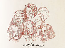 Several Voltaire caricatures and his signature. Signed ensemble of caricatures of Voltaire, one of the most free thinkers of the French renaissance Stock Photography