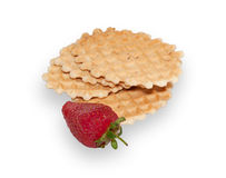 Several waffles and ripe strawberries isolated Stock Photography
