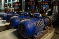 Several Water Pumps With Electric Motors Stock Photo