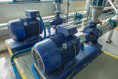 Several Water Pumps With Large Motors Royalty Free Stock Photo