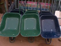 Several wheelbarrows Royalty Free Stock Photo