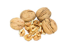 Several whole walnuts and a shelled kernels of walnuts closeup. Several whole walnuts in their shell and several shelled kernels of walnuts on a light background Stock Images