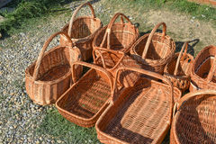 Several wicker baskets on the ground Stock Photos