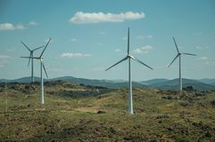 Several wind turbines over hilly landscape. Several wind turbines for electric power generation over green hilly landscape with rocks, in a sunny day at Sortelha royalty free stock image