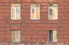 Windows on facade of St. Petersburg University Russian Interior Ministry Stock Photos