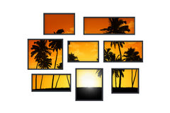 Several windows on a white wall with tropical landscape at sunse Stock Photo