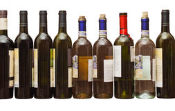 Wine bottles. Several wine bottles closed with plugs on a white background stock photography