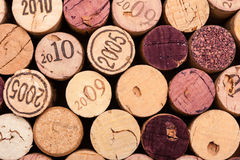Several Wine Corks seen from above. The Vintage is printed on some of them Stock Photo