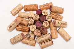 Several Wine Corks on a white background. Royalty Free Stock Photos