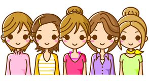 Several women lined up. This is an illustration of several women lined up Stock Photo