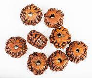 Several wooden beads from Rudraksha tree seeds Royalty Free Stock Photo
