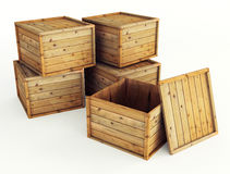 Several wooden crates Royalty Free Stock Photos
