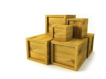 Several wooden crates Stock Images