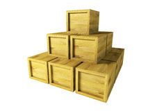 Several wooden crates. 3d rendering Royalty Free Stock Photography