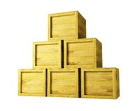 Several wooden crates. 3d rendering Royalty Free Stock Image