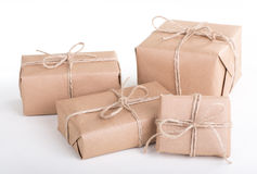 Several Wrapped Brown Packages Royalty Free Stock Images