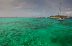Several yachts around the Caribbean islands Stock Image
