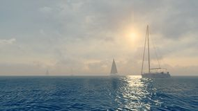 Several yachts in the open sea at daytime Royalty Free Stock Photos