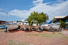 Several yachts  on the shoreside Stock Photo