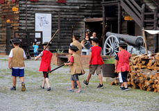 Several young children taking part in The King's Army,Fort Ticonderoga,New York,2015 Stock Images