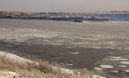 Froze the water in Siberian river. From the severe cold froze the water in Siberian river royalty free stock images