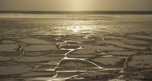Froze the water in Siberian river. From the severe cold froze the water in Siberian river stock photo