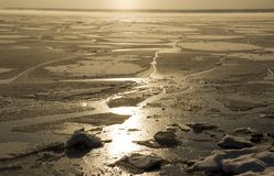 Froze the water in Siberian river. From the severe cold froze the water in Siberian river stock photography