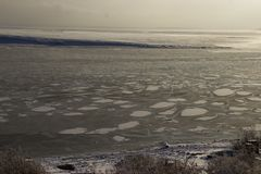 Froze the water in Siberian river. From the severe cold froze the water in Siberian river royalty free stock photography