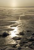 Froze the water in Siberian river. From the severe cold froze the water in Siberian river royalty free stock photo