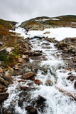 Severe cold mountain landscape with mountain river. Royalty Free Stock Image