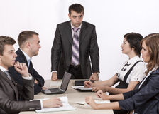 Severe corporate manager is observing his business Royalty Free Stock Photography