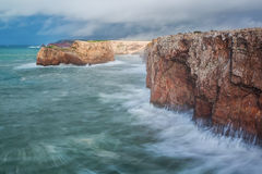 Severe dramatic seascape Portugal. Stock Images