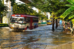 Severe flood in Bangkok, Thailand Stock Image