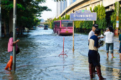 Severe flood in Bangkok, Thailand Royalty Free Stock Photos