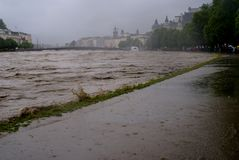 Severe flooding in salzburg, austria Royalty Free Stock Image