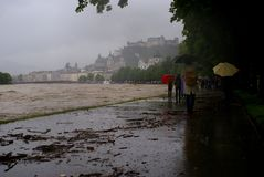 Severe flooding in salzburg, austria Stock Images