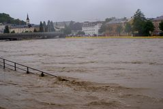 Severe flooding in salzburg, austria Royalty Free Stock Photography