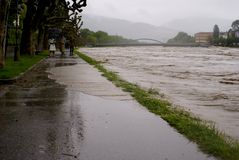 Severe flooding in salzburg, austria Stock Photo